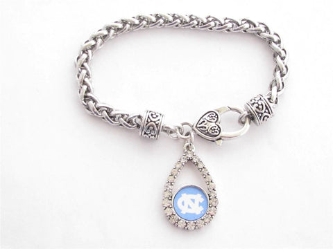 Bracelet - North Carolina Tar Heels NCAA Teardrop Clear Crystal Silver Bracelet