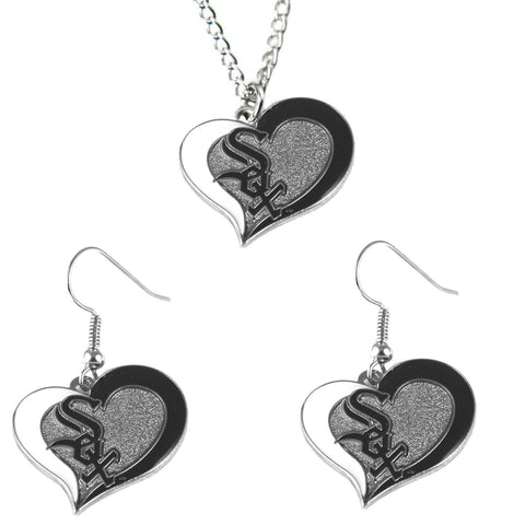 Chicago White Sox Women's Swirl Heart Necklace & Earrings Set