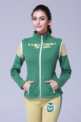 Colorado State Rams Womens Yoga Jacket (Green)