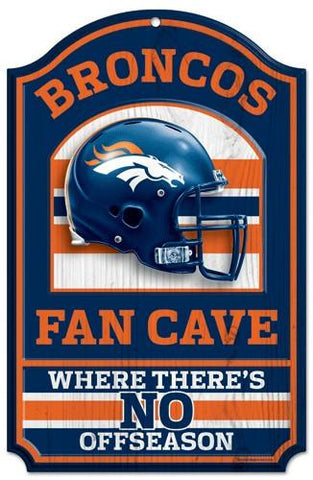 "Denver Broncos Wood Sign - 11""x17"" Fan Cave Design"