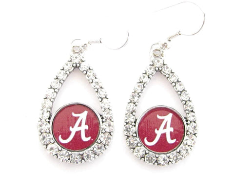 Earrings - Alabama Crimson Tide NCAA Teardrop Silver Crystal Rhinestone Earrings