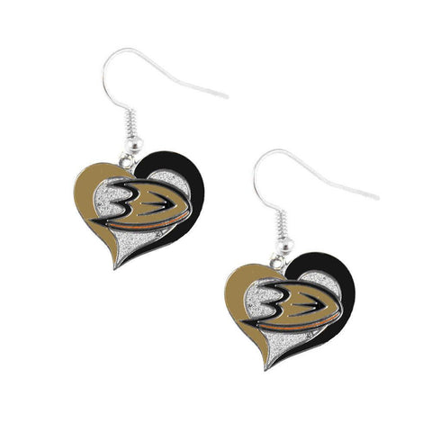 Earrings - Anaheim Ducks Women's Swirl Heart Earrings