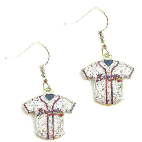 Earrings - Atlanta Braves Women's Glitter Jersey Dangle Earrings