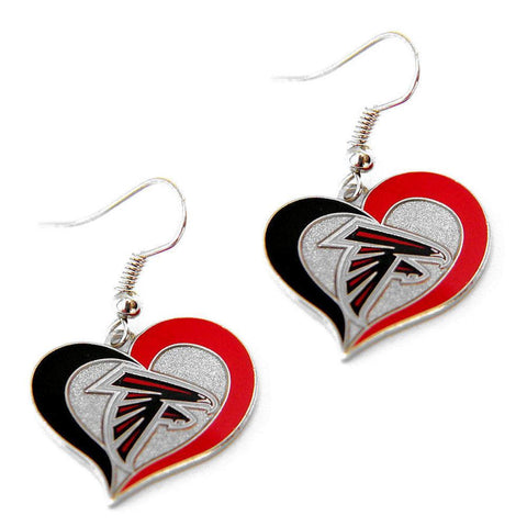 Earrings - Atlanta Falcons Women's Swirl Heart Earrings