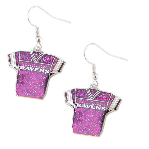 Earrings - Baltimore Ravens Women's Glitter Jersey Dangle Earrings