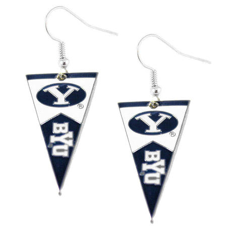 Earrings - Brigham Young Cougars Women's Pennant Dangle Earrings