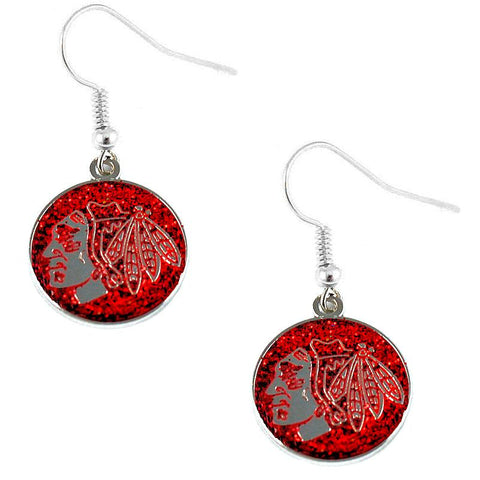 Earrings - Chicago Blackhawks NHL Glitter Dangle Earrings