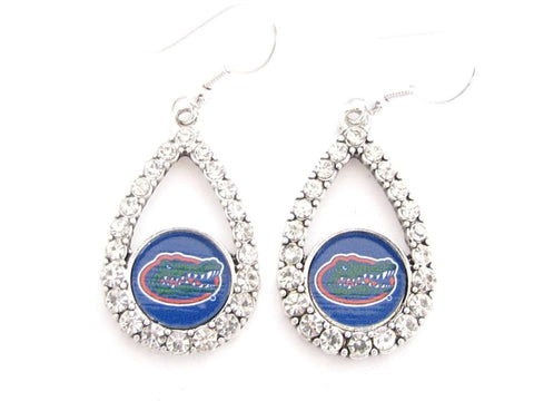 Earrings - Florida Gators NCAA Teardrop Silver Crystal Rhinestone Earrings