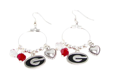 Earrings - Georgia Bulldogs NCAA Austrian Crystal Heart Logo Earrings