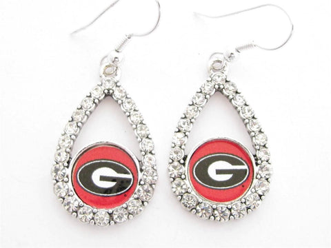 Earrings - Georgia Bulldogs NCAA Teardrop Silver Crystal Rhinestone Earrings