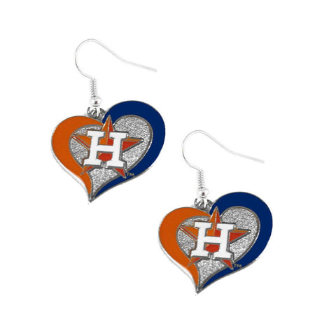 Earrings - Houston Astros Women's Swirl Heart Earrings