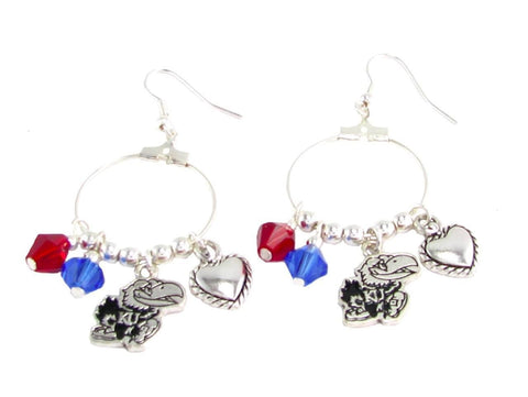 Earrings - Kansas Jayhawks NCAA Austrian Crystal Heart Logo Earrings
