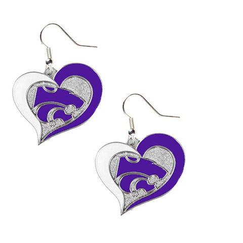 Earrings - Kansas State Wildcats Women's Swirl Heart Earrings