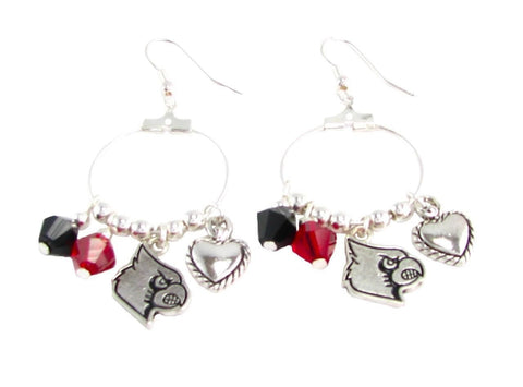 Earrings - Louisville Cardinals NCAA Austrian Crystal Heart Logo Earrings