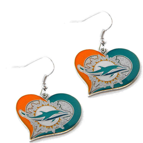 Earrings - Miami Dolphins Women's Swirl Heart Earrings