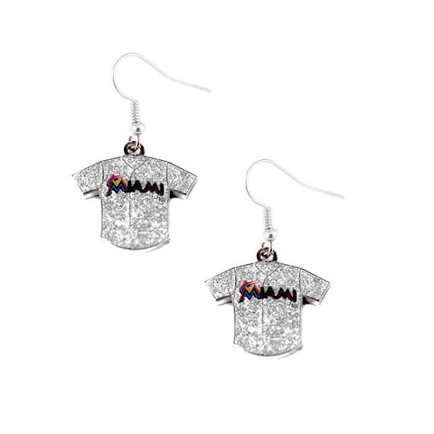 Earrings - Miami Marlins Women's Glitter Jersey Dangle Earrings