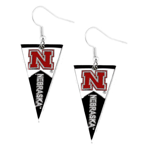 Earrings - Nebraska Cornhuskers Women's Pennant Dangle Earrings