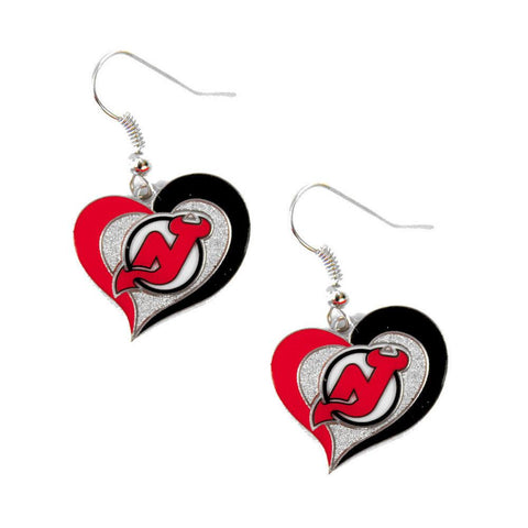 Earrings - New Jersey Devils Women's Swirl Heart Earrings