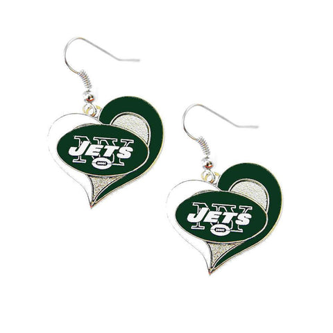 Earrings - New York Jets Women's Swirl Heart Earrings