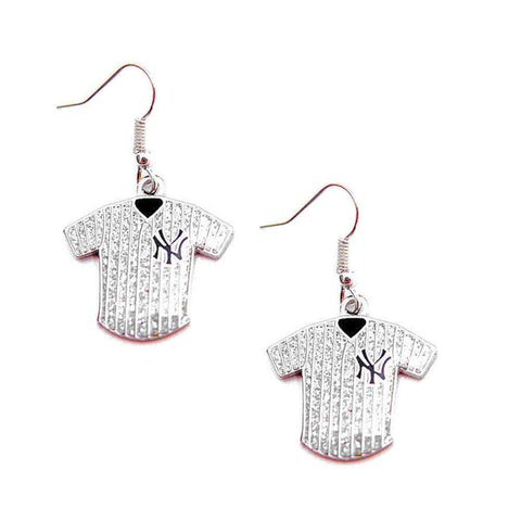 Earrings - New York Yankees Women's Glitter Jersey Dangle Earrings