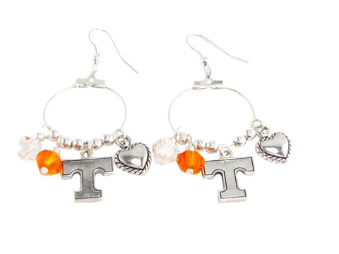 Earrings - Tennessee Volunteers NCAA Austrian Crystal Heart Logo Earrings