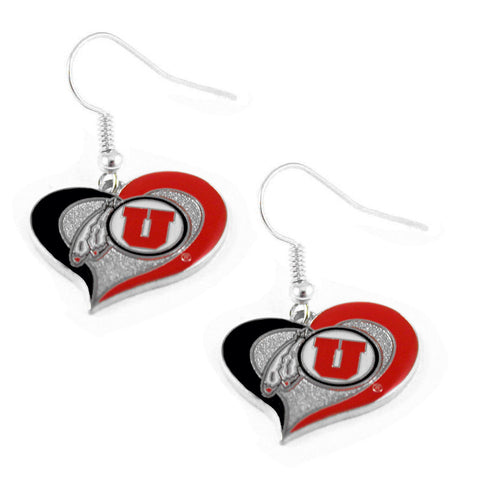 Earrings - Utah Utes Women's Swirl Heart Earrings