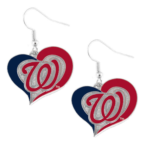 Earrings - Washington Nationals Women's Swirl Heart Earrings