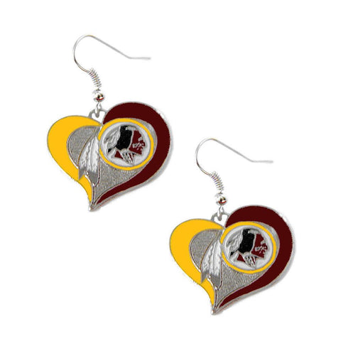Earrings - Washington Redskins Women's Swirl Heart Earrings