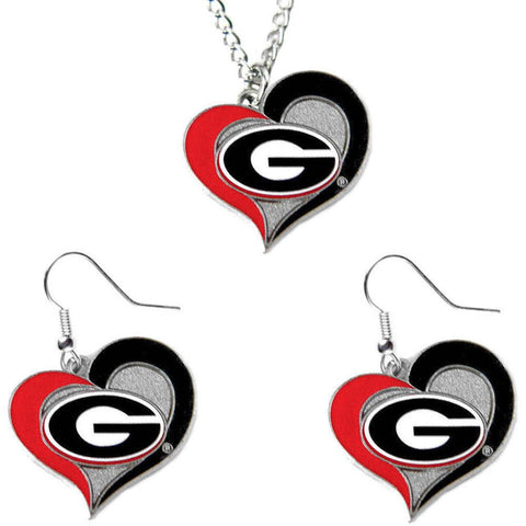 Georgia Bulldogs Women's Swirl Heart Necklace & Earrings Set