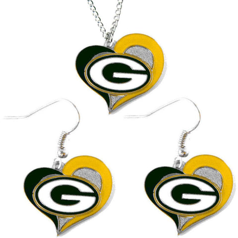 Green Bay Packers Women's Swirl Heart Necklace & Earrings Set