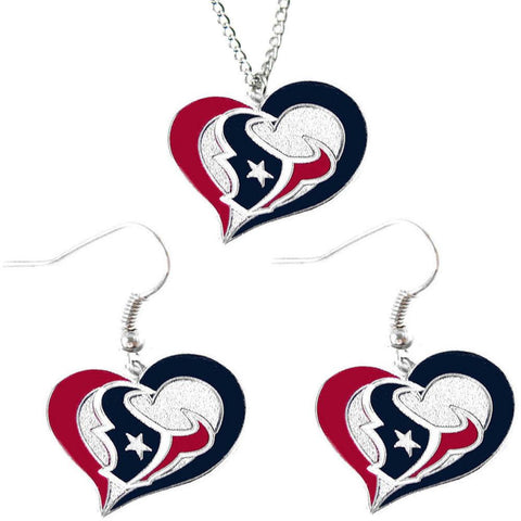 Houston Texans Women's Swirl Heart Necklace & Earrings Set