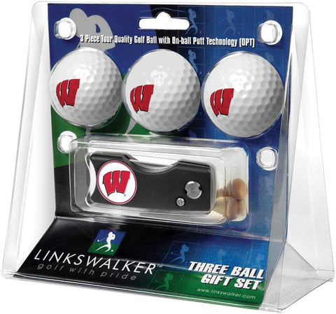 Wisconsin Badgers Spring Action Divot Tool 3 Ball Gift Pack