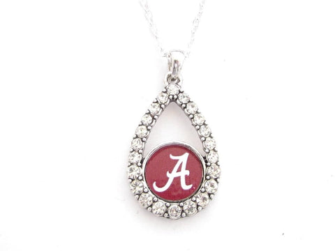 Necklace - Alabama Crimson Tide NCAA Teardrop Clear Crystal Silver Necklace