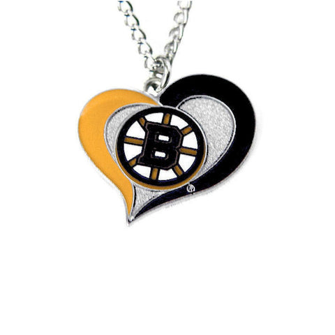 Necklace - Boston Bruins Women's Swirl Heart Necklace