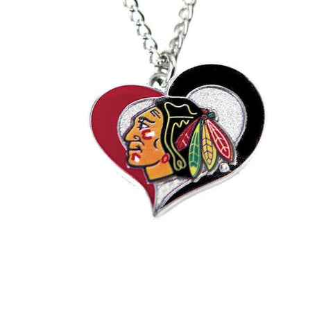 Necklace - Chicago Blackhawks Women's Swirl Heart Necklace