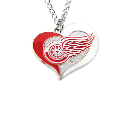 Necklace - Detroit Red Wings Women's Swirl Heart Necklace