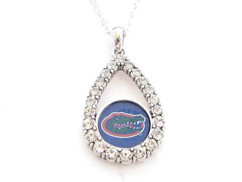 Necklace - Florida Gators NCAA Teardrop Clear Crystal Silver Necklace