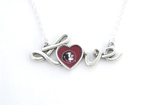 Necklace - Florida State Seminoles NCAA Love Script Silver Necklace