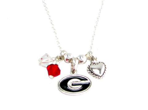 Necklace - Georgia Bulldogs NCAA Austrian Crystal Silver Necklace