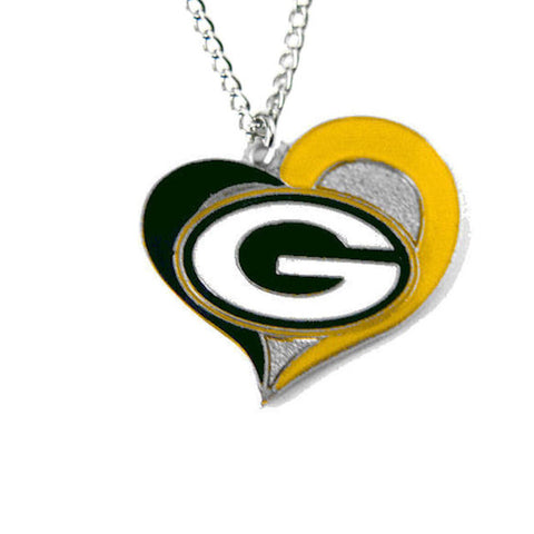 Necklace - Green Bay Packers Women's Swirl Heart Necklace