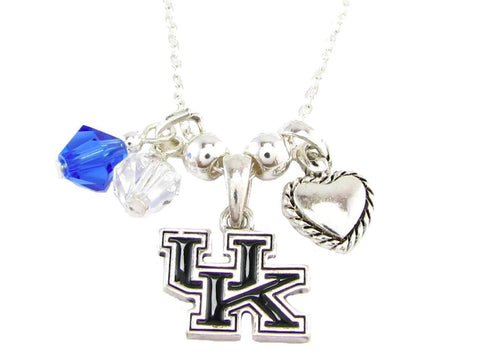 Necklace - Kentucky Wildcats NCAA Austrian Crystal Silver Necklace