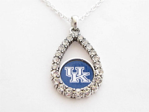 Necklace - Kentucky Wildcats NCAA Teardrop Clear Crystal Silver Necklace