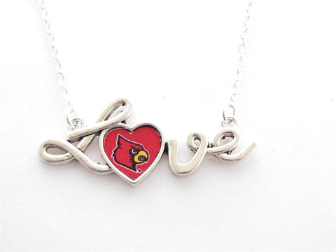 Necklace - Louisville Cardinals NCAA Love Script Silver Necklace