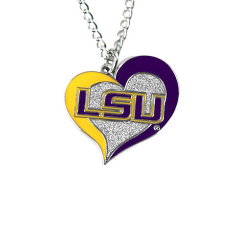 Necklace - LSU Tigers Women's Swirl Heart Necklace