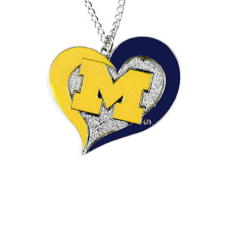 Necklace - Michigan Wolverines Women's Swirl Heart Necklace