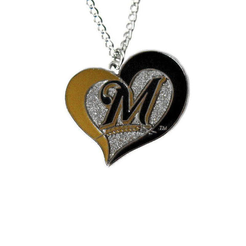 Necklace - Milwaukee Brewers Women's Swirl Heart Necklace