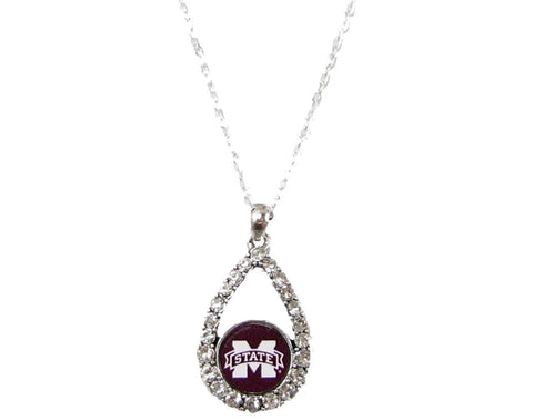 Necklace - Mississippi State Bulldogs Teardrop Clear Crystal Silver Necklace