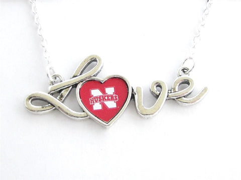 Necklace - Nebraska Cornhuskers NCAA Love Script Silver Necklace