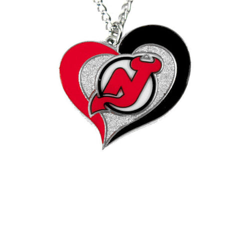 Necklace - New Jersey Devils Women's Swirl Heart Necklace