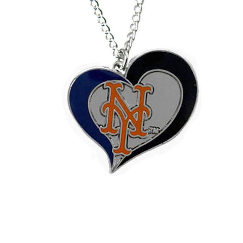 Necklace - New York Mets Women's Swirl Heart Necklace